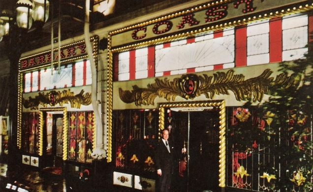 The entrance to the Barbary Coast. It looks like an alcoholic ice cream parlor.