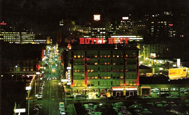 The Hoyt Hotel [yeah, I know the sign says Hotel Hoyt] in all its nighttime glory.