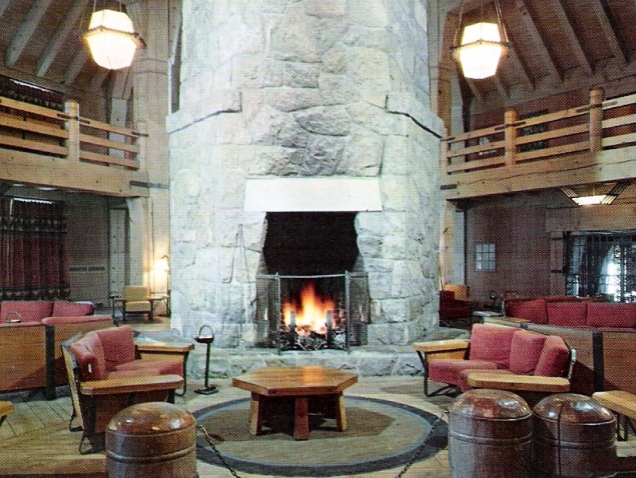 The cozy confines of the Timberline Lodge.